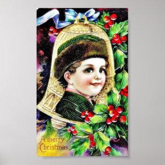 Navidad que saluda con una cara del muchacho en un póster