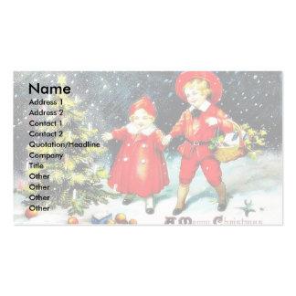 Navidad que saluda con una familia que se mueve co tarjetas de visita