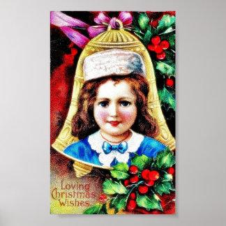 Navidad que saluda con una foto del niño en el bel póster