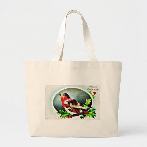 Navidad que saluda con una sentada del pájaro bolsas lienzo