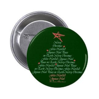 Navidad que saluda el árbol pin redondo de 2 pulgadas
