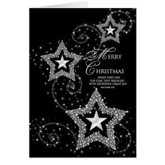 Navidad que saluda el cristiano/las estrellas tarjeta de felicitación