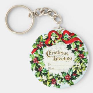 Navidad que saluda el sobre con la guirnalda alred llaveros