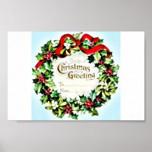 Navidad que saluda el sobre con la guirnalda alred impresiones