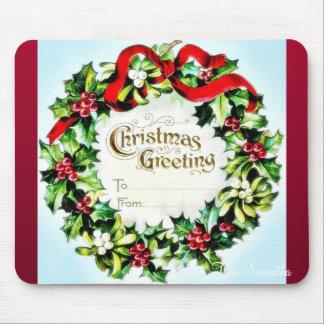 Navidad que saluda el sobre con la guirnalda alred tapetes de raton
