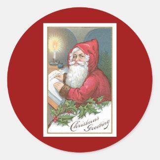 Navidad que saluda el vintage Papá Noel Pegatina Redonda