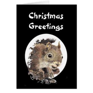 Navidad que saluda la ardilla original del cascanu tarjeta de felicitación