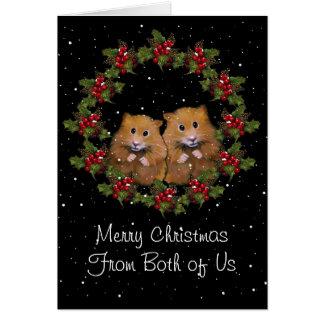 Navidad que saluda, pares lindos del hámster, aceb tarjeton