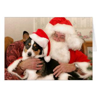 Navidad que saluda Tarjeta-Santa y su Corgi Galés Tarjeta De Felicitación