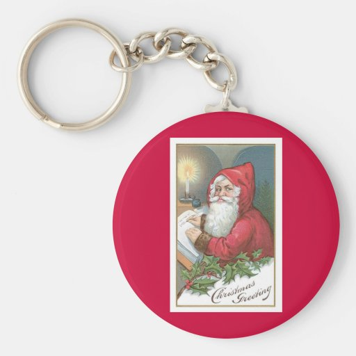 Navidad que saluda - vintage Santa Llaveros