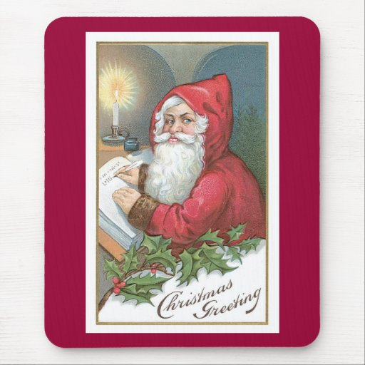 Navidad que saluda - vintage Santa Alfombrillas De Ratones
