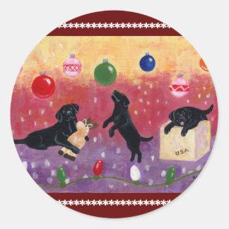 Navidad que soña el laboratorio negro pegatinas redondas