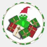 Navidad rana y pegatinas del regalo pegatina redonda
