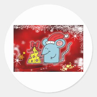 Navidad ratón y queso etiquetas redondas