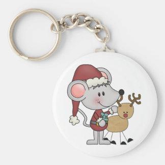 Navidad ratón y Rudolph Llavero