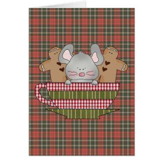 navidad ratón y taza del pan de jengibre tarjeta de felicitación