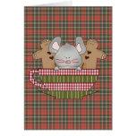 navidad ratón y taza del pan de jengibre tarjeton