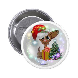 Navidad ratonil de un perro pin redondo 5 cm