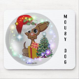 Navidad ratonil de un perro tapete de raton