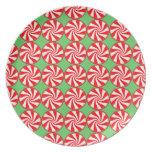 Navidad redondo blanco rojo del caramelo de hierba platos de comidas
