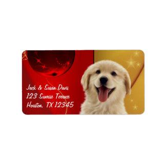 Navidad regalo del golden retriever o etiquetas de