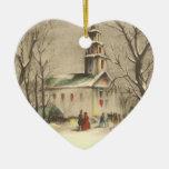 Navidad religioso del vintage, iglesia, nieve, inv adornos de navidad