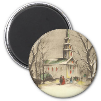 Navidad religioso del vintage, iglesia, nieve, inv imán para frigorifico