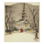 Navidad religioso del vintage, iglesia, nieve, inv posters