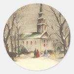 Navidad religioso del vintage, iglesia, nieve, inv pegatina redonda