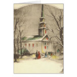 Navidad religioso del vintage, iglesia, nieve, inv tarjeta
