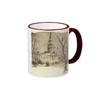 Navidad religioso del vintage, iglesia, nieve, inv taza de café