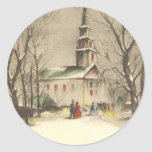 Navidad religioso del vintage, iglesia, nieve, pegatina redonda