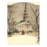 Navidad religioso del vintage, iglesia, nieve, tarjeta postal