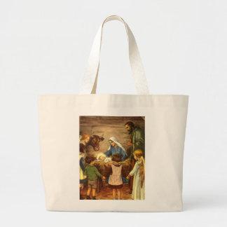 Navidad religioso del vintage, natividad, bebé bolsa