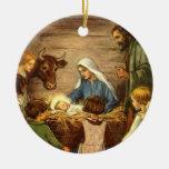 Navidad religioso del vintage, natividad, bebé Jes Ornato