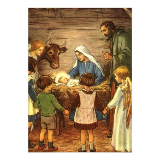 Navidad religioso del vintage, natividad, bebé Jes Comunicado Personal