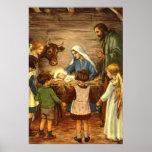 Navidad religioso del vintage, natividad, bebé Jes Poster
