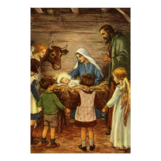 Navidad religioso del vintage natividad bebé Jes
