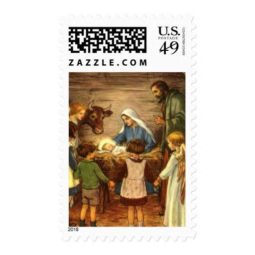 Navidad religioso del vintage, natividad, bebé Jes Sello