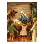 Navidad religioso del vintage, natividad, bebé Jes Tarjeta Postal