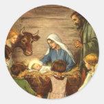 Navidad religioso del vintage, natividad, bebé pegatinas redondas