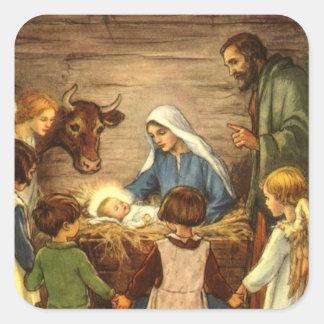 Navidad religioso del vintage, natividad, bebé calcomanías cuadradass personalizadas