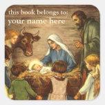 Navidad religioso del vintage, natividad, bebé colcomania cuadrada