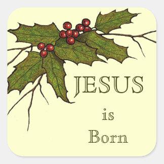 Navidad religioso, Jesús, acebo, arte original Pegatina Cuadrada