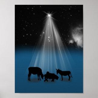 Navidad, religioso, natividad, estrellas, impresió posters