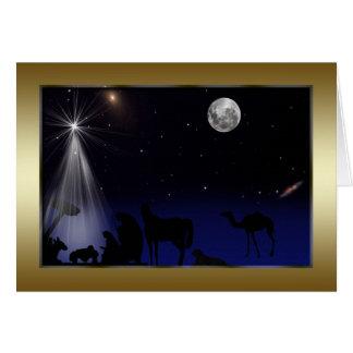 Navidad, religioso, natividad, estrellas, luna tarjeton