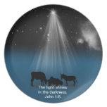 Navidad, religioso, natividad, estrellas, placa platos