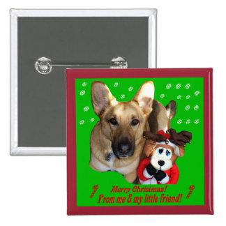 Navidad reno del pastor alemán y del juguete pin cuadrado