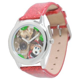 Navidad reno del pastor alemán y del juguete relojes