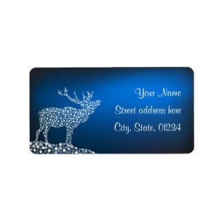 Navidad reno y estrellas etiqueta de dirección